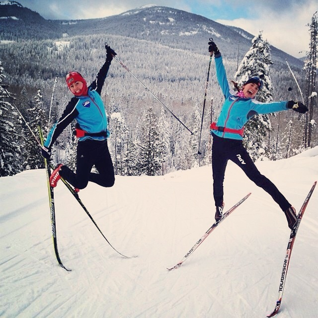 Lauren Fritz and I were stoked on the new course in Rossland BC