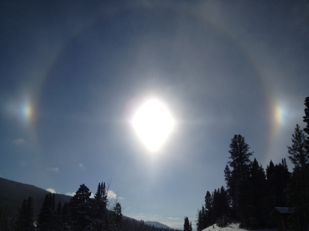 This is how chilly it was in Bozeman- ice crystals in the air make sun dogs