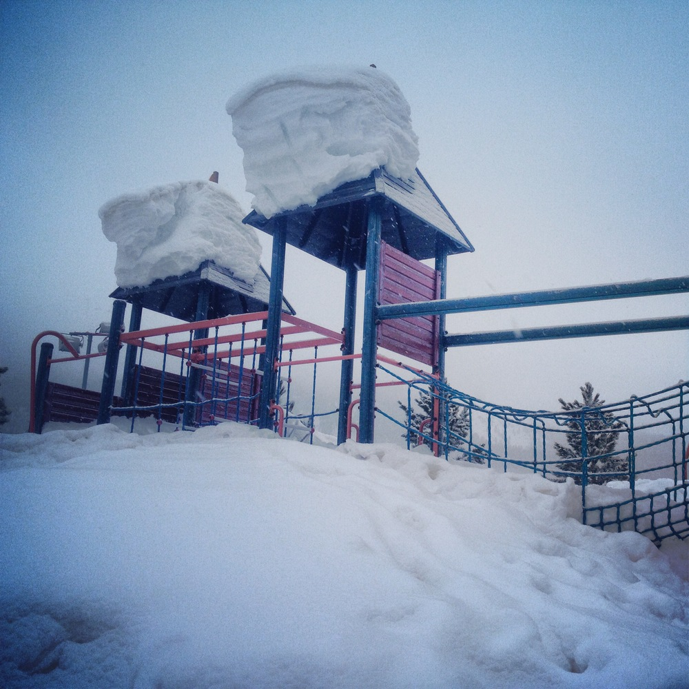 I was going to do pull ups on a playground- but the snow was too high to hang off anything
