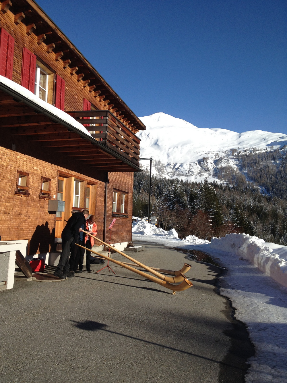 This was happening next to our hotel in Davos; sunshine, alps, and of course some alphorns!