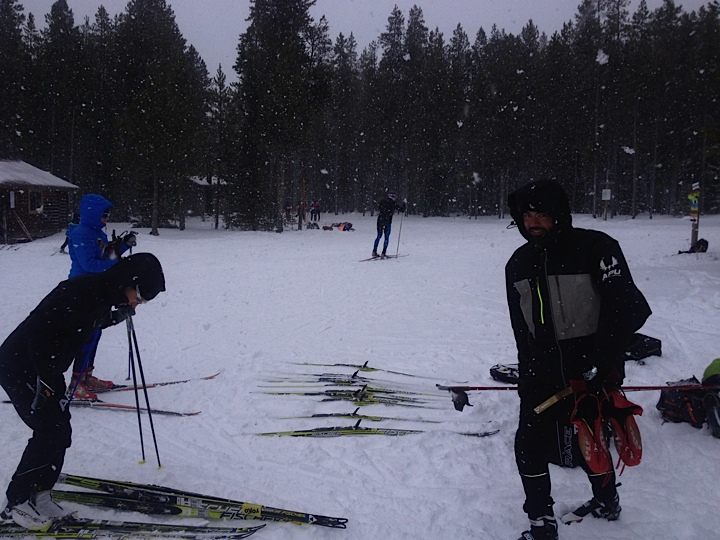 The APUNSC ski testing machine, in action, in a snowstorm!  In the week leading up to West Yellowstone it's always a push to learn this year's new skis and figure out what you may want to be racing on after Thanksgiving.