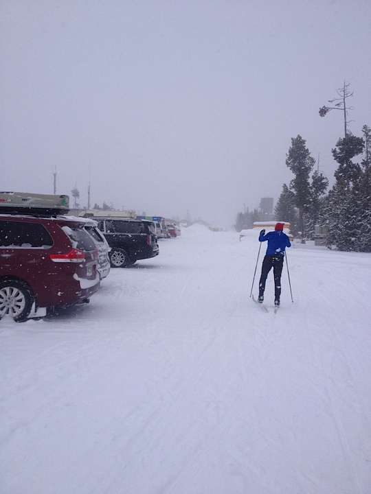 This is the best part of West Yellowstone, everyone skiing in the streets when there's a snow storm!