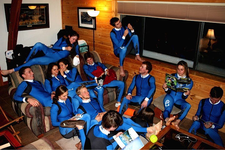 This is my APUNSC ski family, we're stoked on our new Craft race suits!