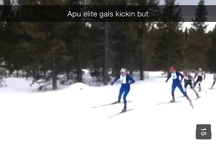 Sorry Andre, I had to put this in.  Andre held down the bottom of the sprint loop, ready to hand out poles if needed.  He sent me this snap chat of Rosie and I leading our semifinal.  Thanks Andre!!