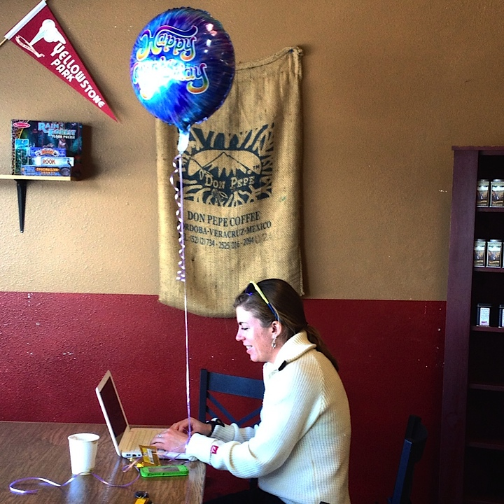 Hanging out in Morning Glory Coffee on Rosie's birthday (hence the balloon), watching Sadie wrap up her final project at Alaska Pacific University!