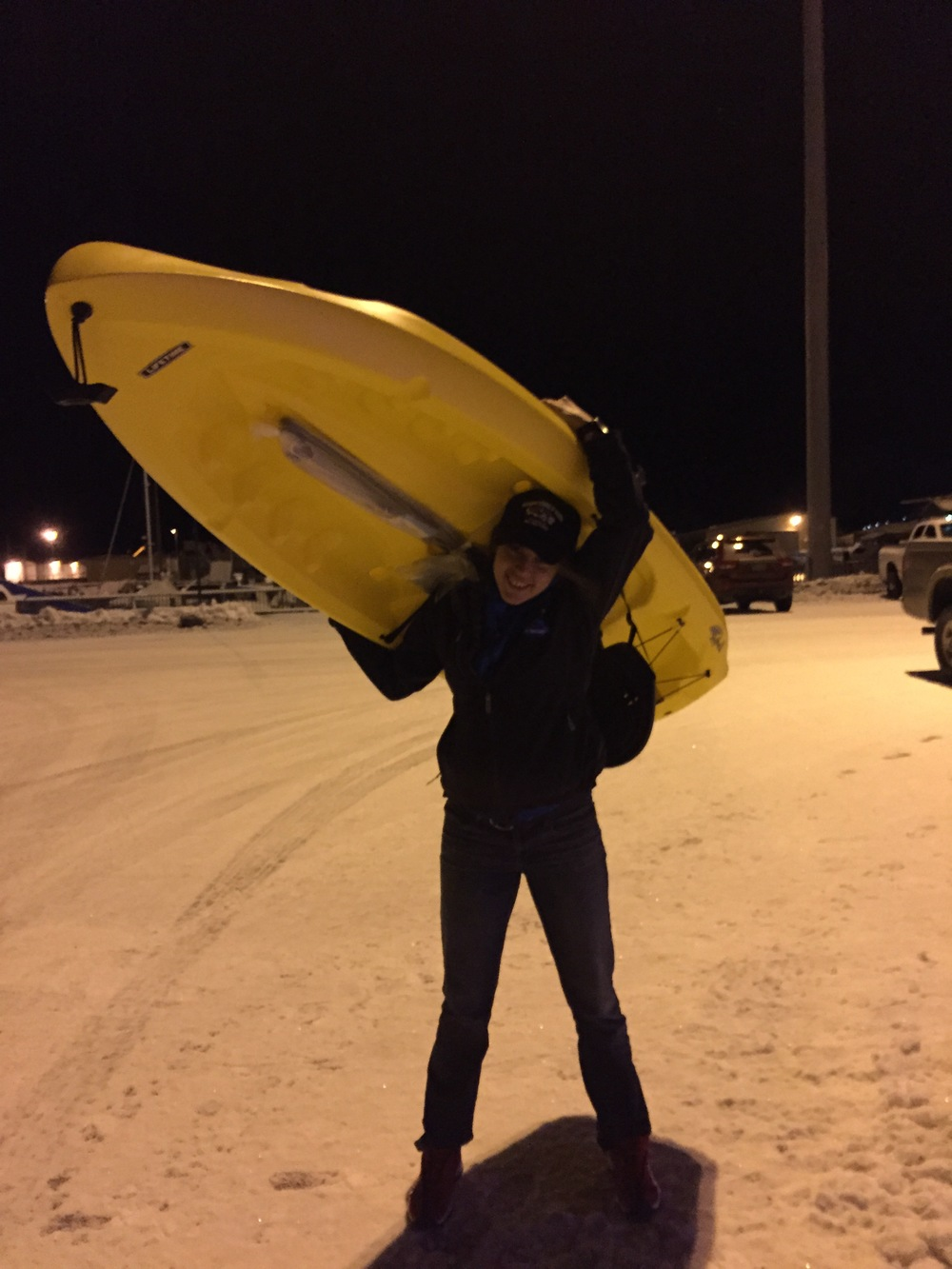 Part 3 of the Qaniq Challenge, walking the kayak home from the banquet!
