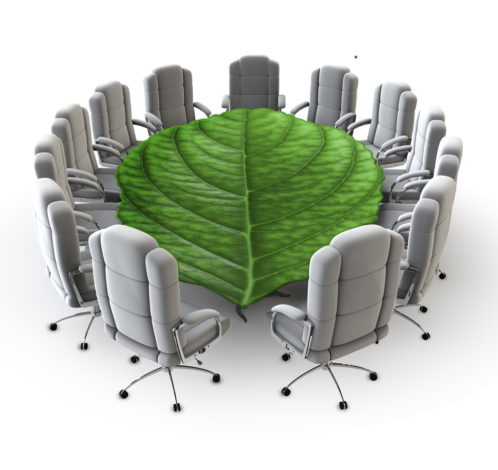 Executive business chairs set up for a meeting with the table being a large green leaf instead of a table