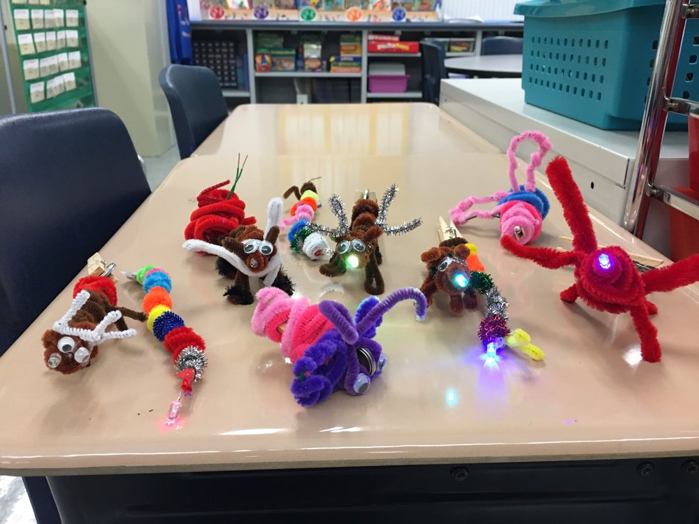 Light-up Circuit Critters made by students at Stoneridge Elementary School.