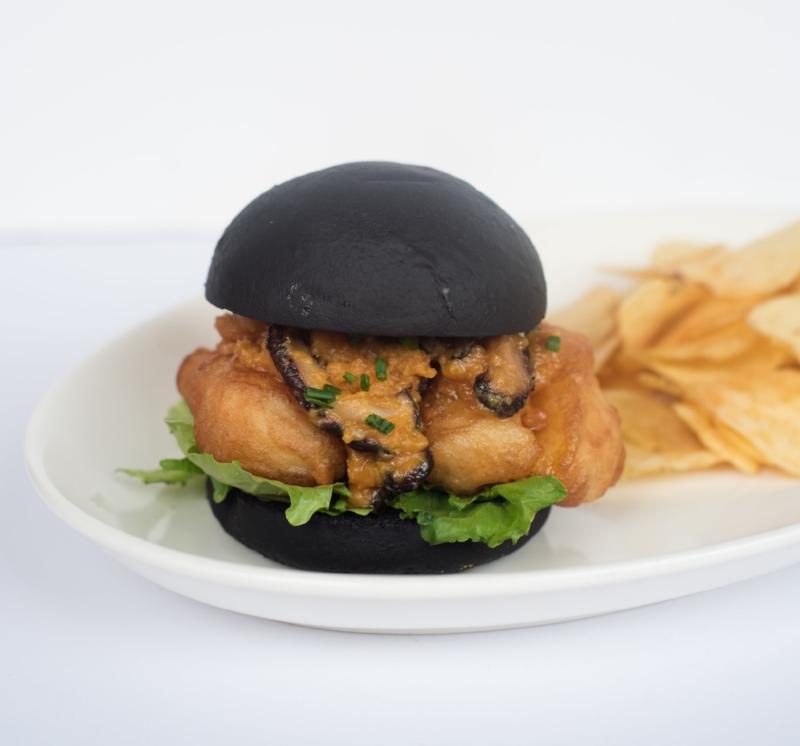 Salted Egg Yolk Fish Burger in Cocoa Bun