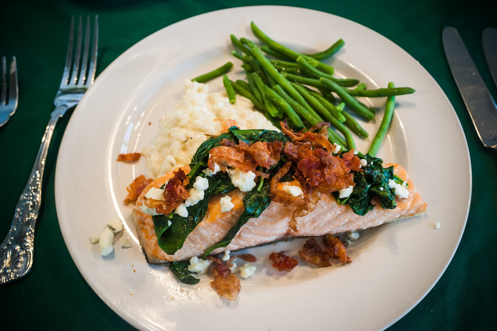 salmon topped with bacon, gorgonzola and sauteed spinach