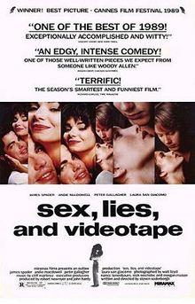 """""""Sexo, Mentiras y cintas de Vídeo"""". Cartel cines. Foto: Wikipedia."""