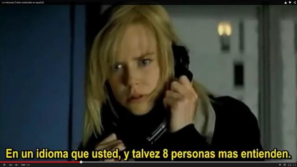 Nicole Kidman en 'La Intérprete'. No he podido evitarlo... Imagen: YouTube.