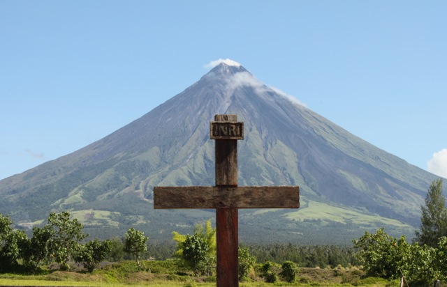 The day before Tueday's eruption - at the Cagsawa Ruins where Mayon's 1814 eruption had caused devastation.