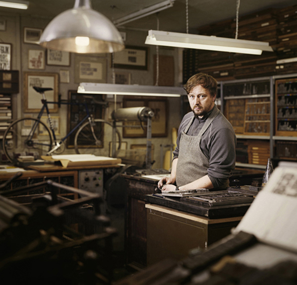 Mr Smith in his Letterpress Workshop