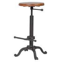 Wood/Iron Rotating Stool