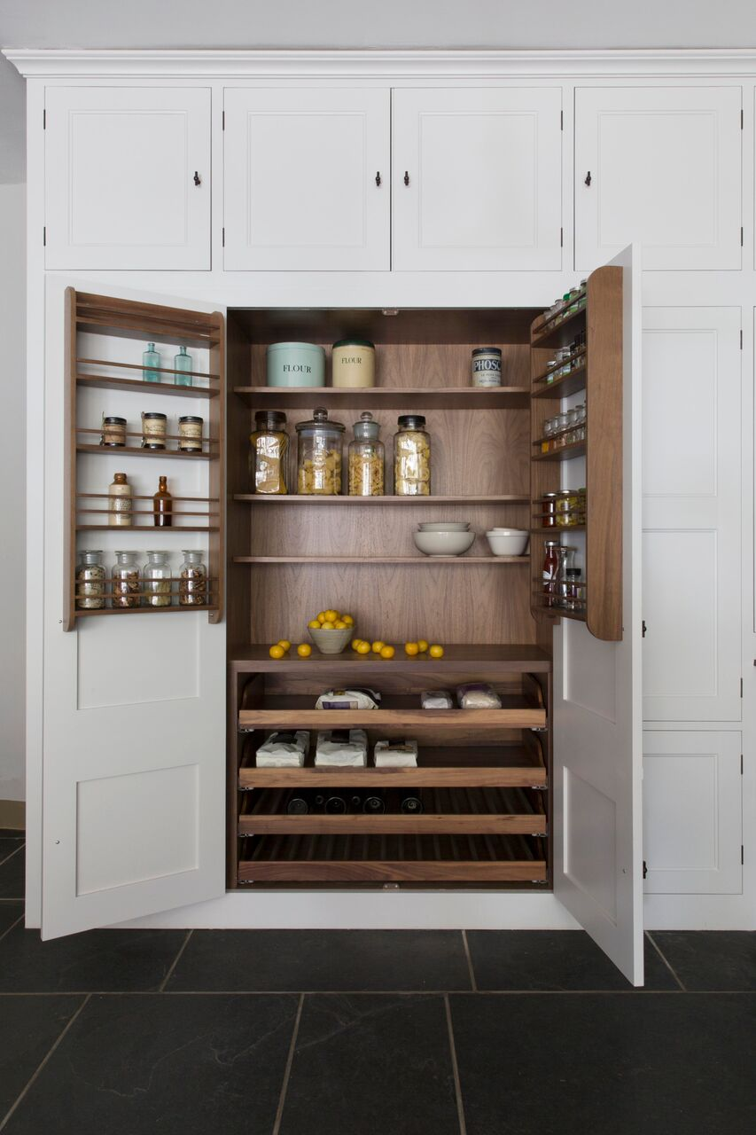 Double larder with walnut veneer interior
