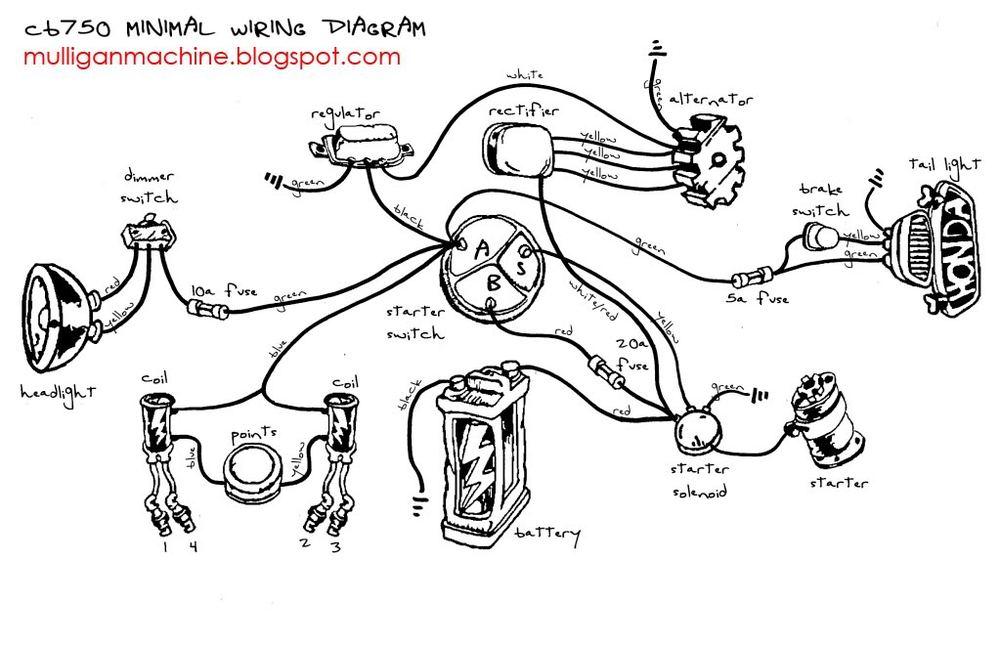 cb750 simplified wiring diagram \u2014 the sohc 4 owners clubCb750 Simple Wiring Diagram #1