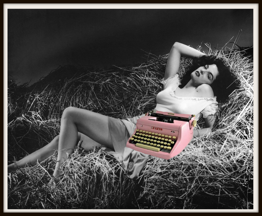 B&W Jane Russell in a hay loft next to a Pink Typewriter | The Naked Page