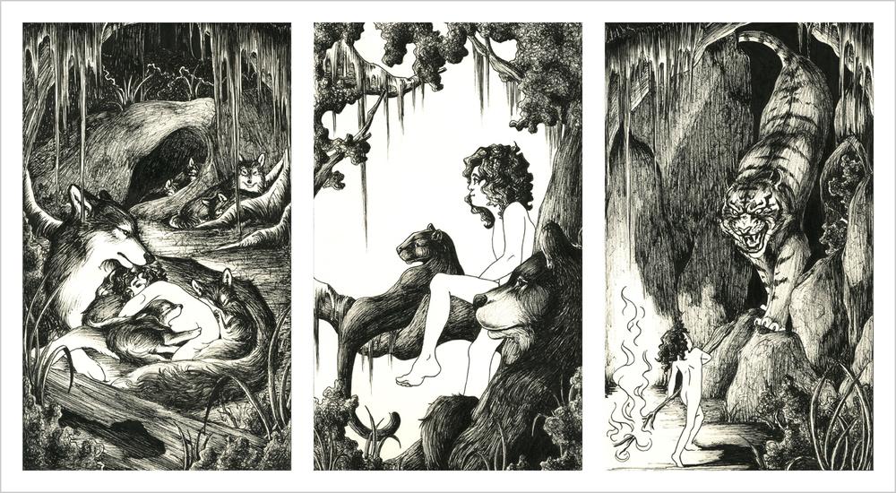 Katherine Dodson  •  The Jungle Book , ink on board, 2013, $245 framed