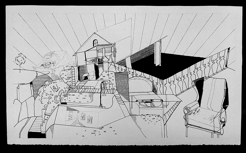 Spencer Pullen  •  interior (exterior) interior , ink on paper, 2013, $275
