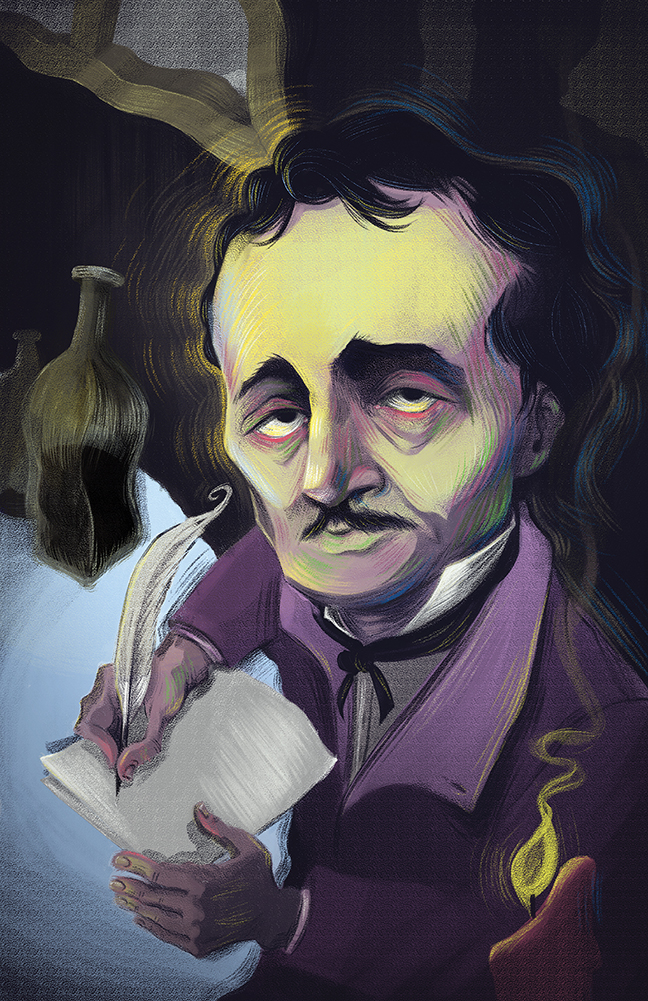 Christina Larkins  •  Poe Intoxication , digital painting,2013, $40 framed, $20 unframed