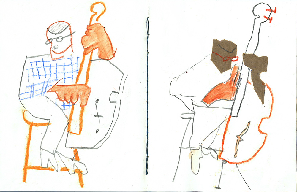 Andy Ozier,  Double Bass Sketchbook Spread , 2013
