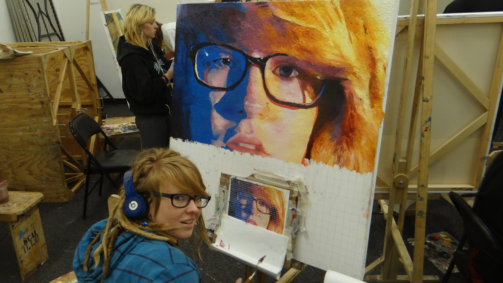 Sophomore Megan Henley working on her 4x4