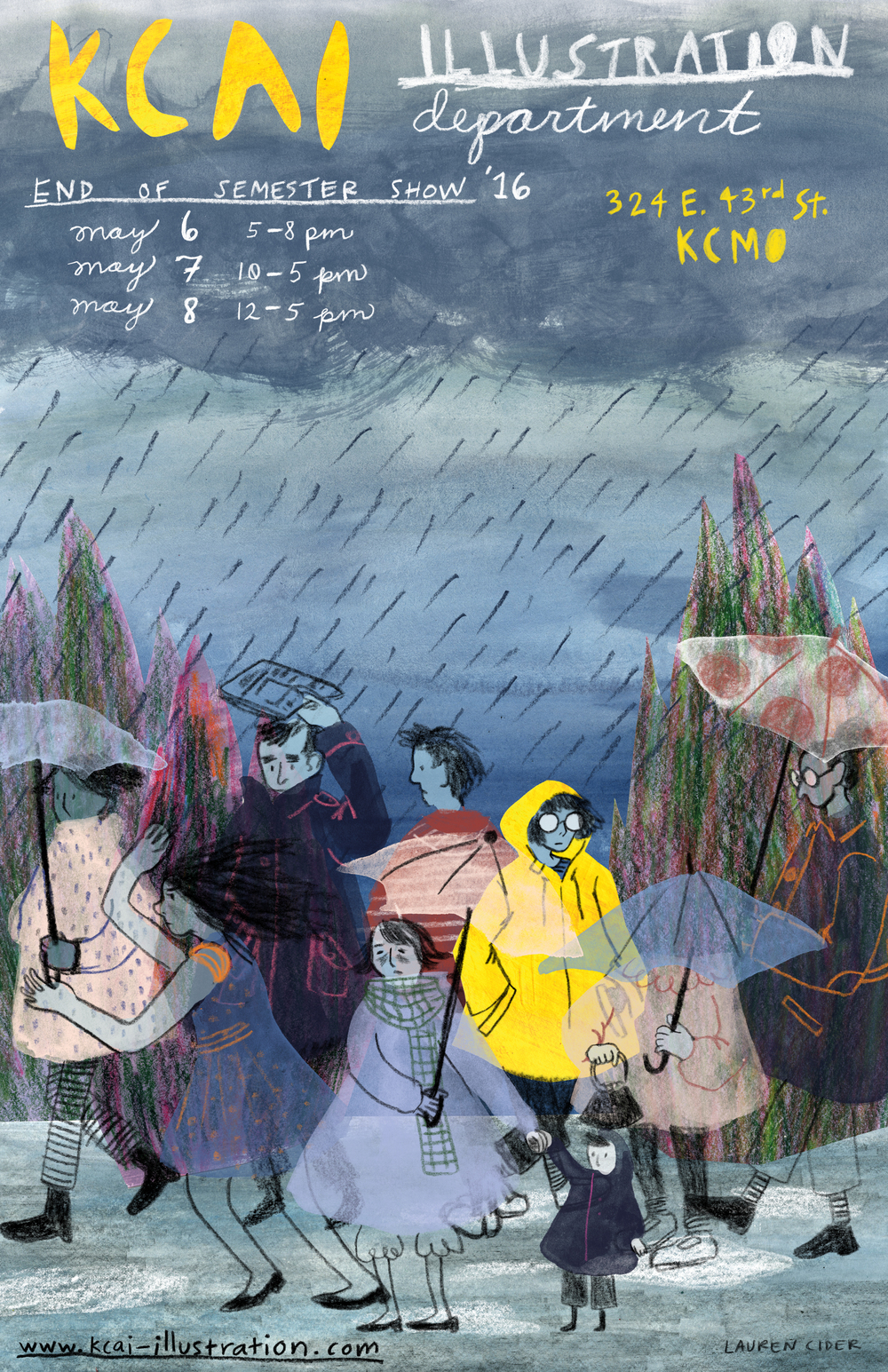 KCAI Illustration 2016 End of Semester Show poster by junior Lauren Sieder