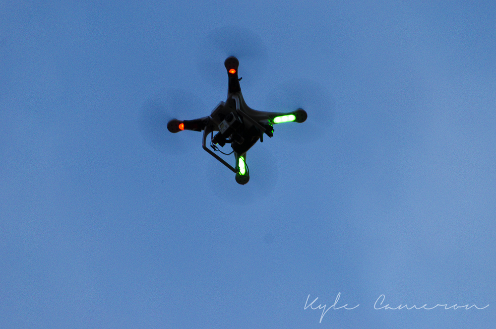 A drone filming the concert/rockin'