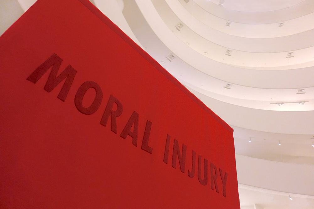 Word on the Street: Moral Injury at the Guggenheim Museum ,  2018, Jenny Holzer + House of Trees art collective (Amy + Jennifer Khoshbin)