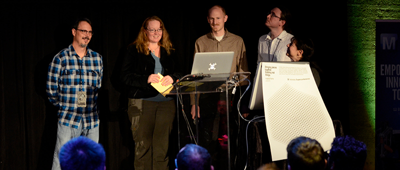 Peter Doktor, Elecia White, Ben Krasnow, Windell Osklay, and Sophi Kravtiz get ready to announce the Hackaday Prize 2015 winner