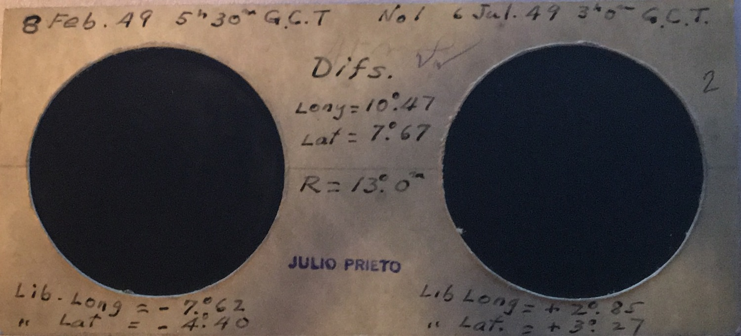 Getting a picture of the moon in stereo requires some planning especially in 1949 when Alvaro's great-grandfather took these.