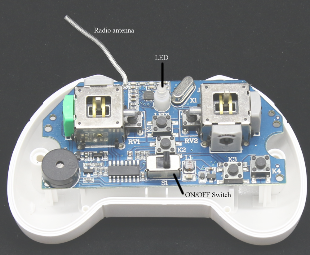 Figure 2-2: Inside the quadcopter, looking down at the top of the controller board.