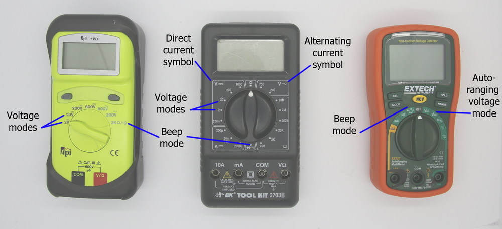 Figure 2-         SEQ Figure \* ARABIC     1      : Three digital multimeters with voltage and beep modes highlighted.