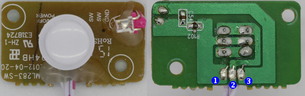 Figure 3-2: Karaoke power button board: top (left) and bottom (right)