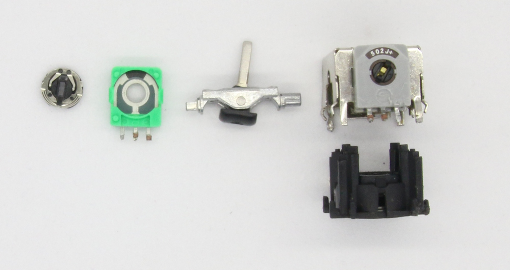 Figure 3-16: Disassembled quadcopter joystick.