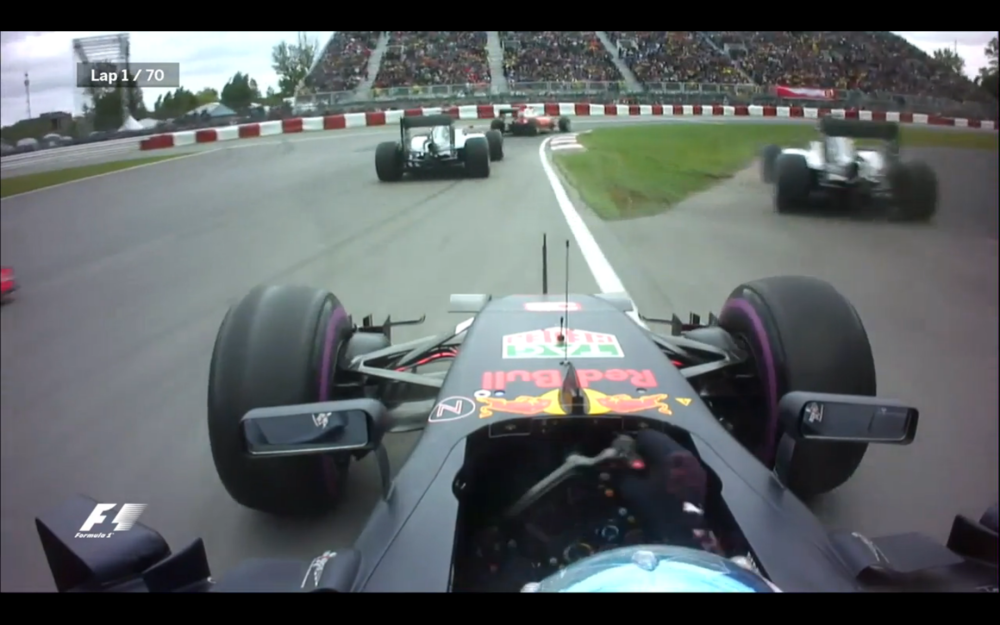 Corner 1 of the 2016 Formula 1 Grand Prix du Canada in Montreal. Nico Rosberg takes the a shortcut down the escape road after running out of room.