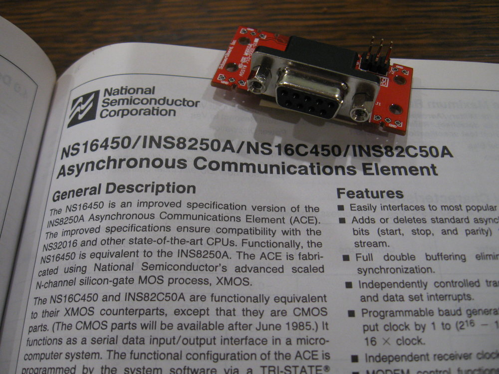 Data sheet for the National Semiconductor NS16450 UART. This extraordinarily popular UART was used in the IBM PC-AT. Also, a TTL to RS-232 converter board from Schmartboard.com.