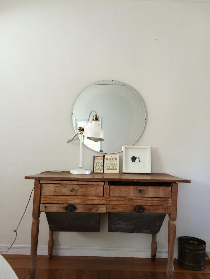 Basker's table desk in the master bedroom.