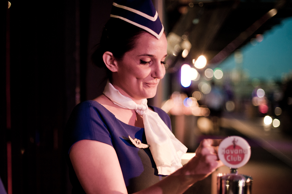 Air hostess Janah Thomas with Cuba Libres on tap