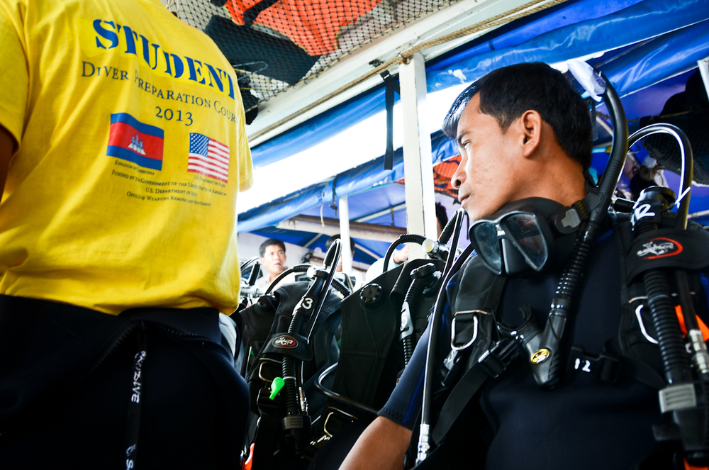 De-miners with the Cambodian Mine Action Centre (CMAC) undergo training for the country's first underwater unexploded ordnance salvage squad.