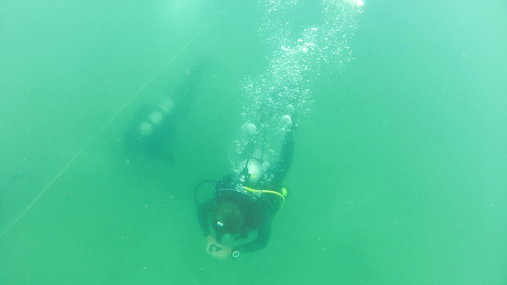 Trainers prepare for a tended dive, a technique for underwater maneuvering in low-visibility conditions. The method involves a tended line manned by a team member on the surface, who can guide divers using line pull signals.
