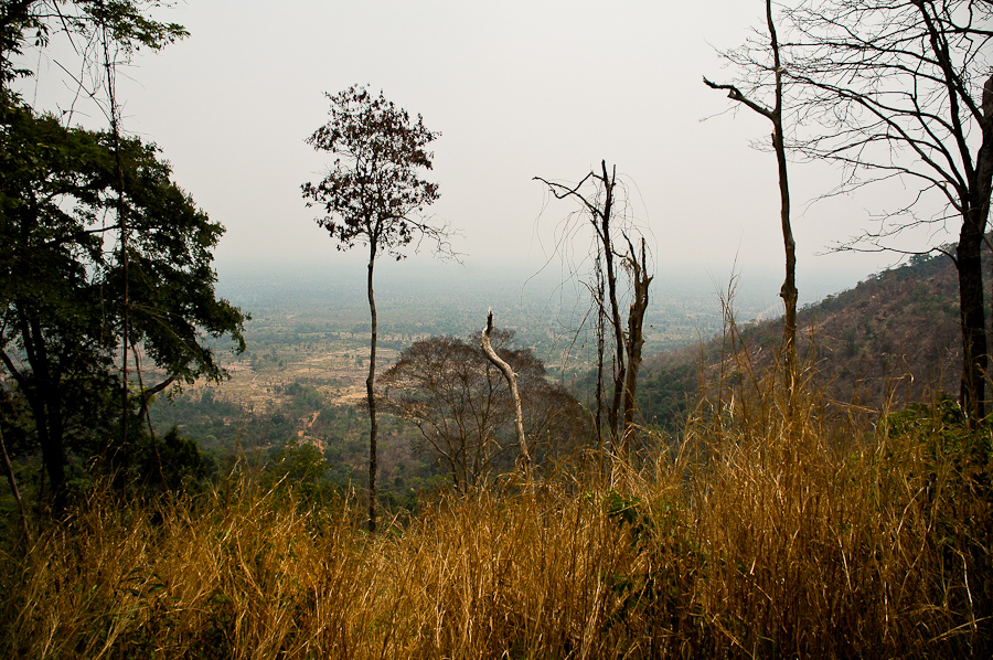 A view of the escarpment below from Pol Pot's former hideout in the Dangrek Mountains.