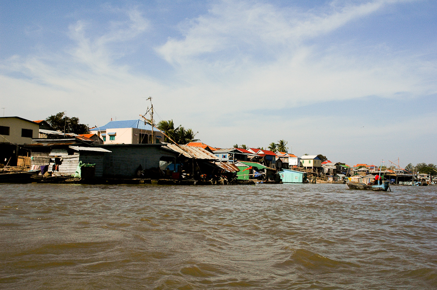 A fishing village near Phnom Penh sits on the banks of the Tonle Sap river, a Mekong tributary.