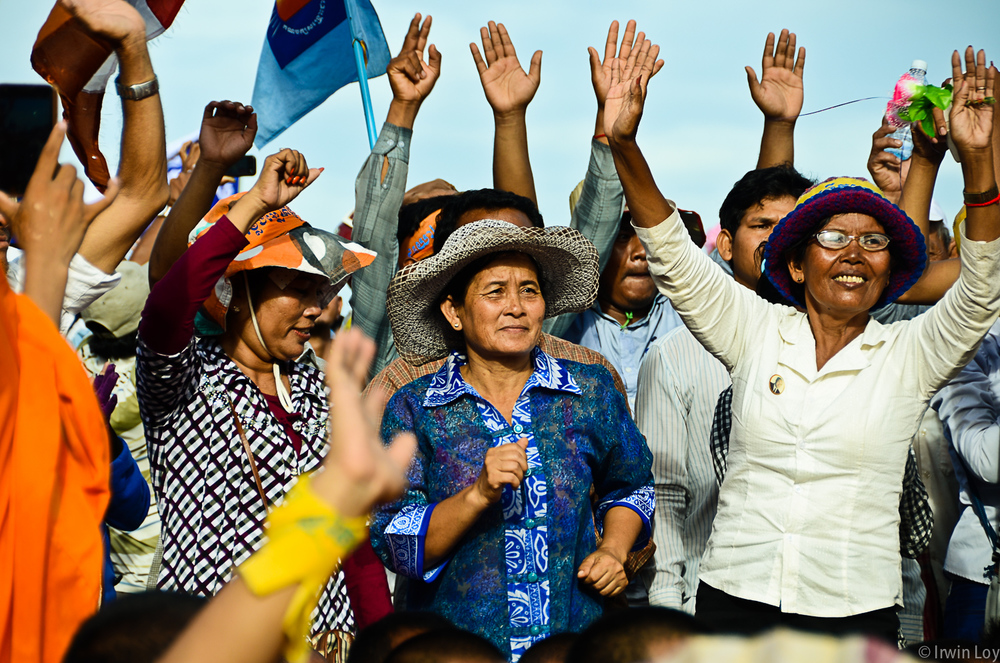 Opposition supporters at a rally protesting the results of the July 28, 2013 elections in Cambodia.