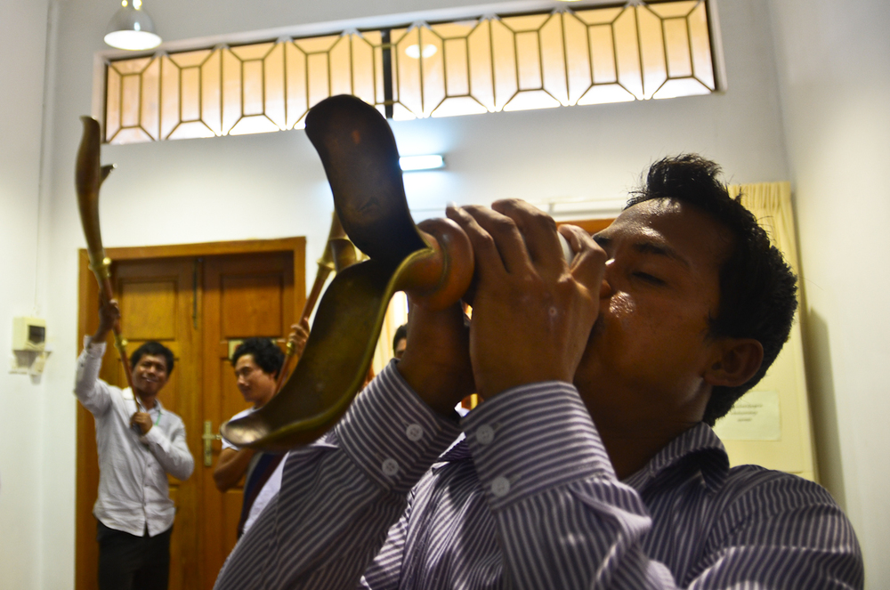 A musician plays a trumpet at a rehearsal in Phnom Penh.