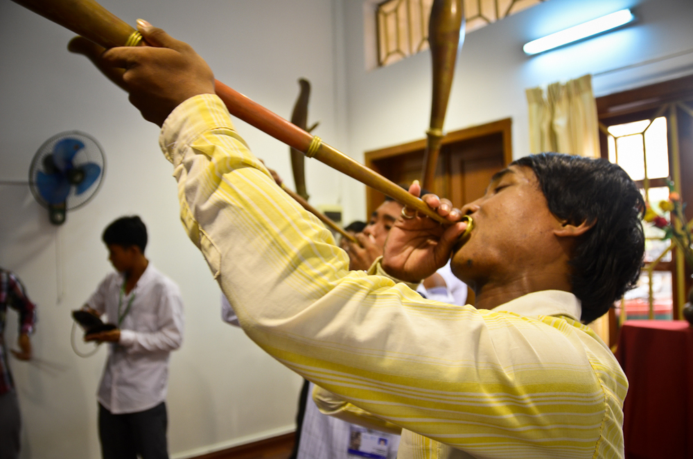 A musician plays a trumpet during a rehearsal in Phnom Penh.