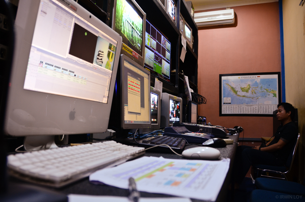 The studio at RuaiTV, a community television station in Pontianak.
