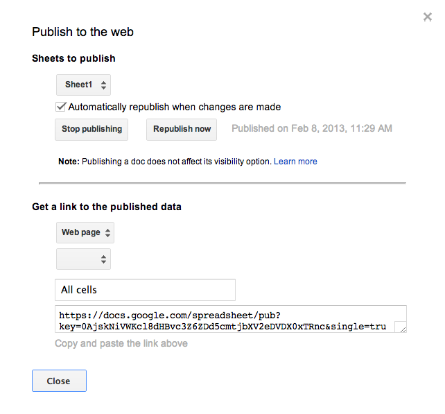 Google Spreadsheets publish options page element.