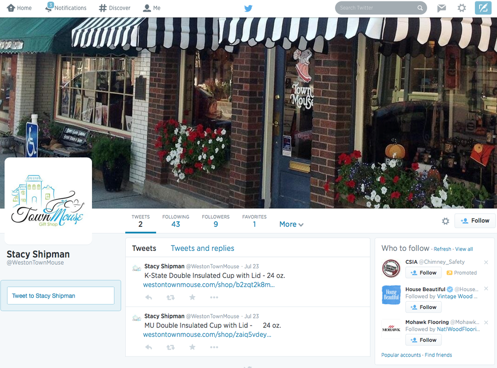 Weston Town Mouse Twitter Page